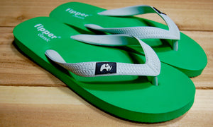 Green Sole White Strap Fipper Classic Comfortable Natural Rubber Flip Flops for Men and Women Biodegradable Vegan Friendly