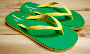 Yellow Green Sole Yellow Strap Fipper Slim Comfortable Natural Rubber Flip Flops for Women and Juniors Biodegradable Vegan Friendly