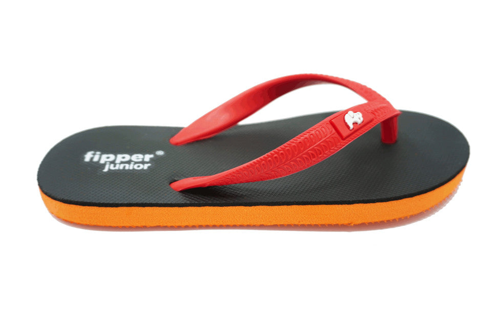 Fipper Junior - Orange Black Red - Comfortable Natural Rubber Flip Flops for Juniors Biodegradable Vegan Friendly