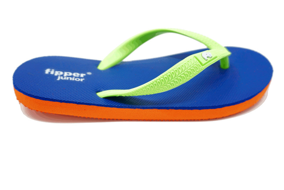 Fipper Junior - Orange Blue Green - Comfortable Natural Rubber Flip Flops for Juniors Biodegradable Vegan Friendly
