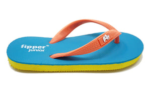 Fipper Junior - Yellow Turquoise Peach - Comfortable Natural Rubber Flip Flops for Juniors Biodegradable Vegan Friendly
