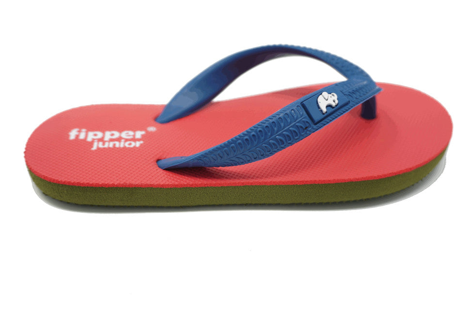 Fipper Junior - Army Green Peach Blue - Comfortable Natural Rubber Flip Flops for Juniors Biodegradable Vegan Friendly