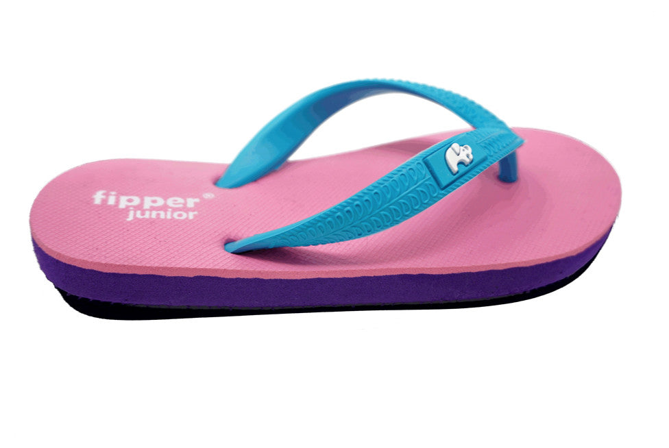 Fipper Junior - Purple Pink Turquoise - Comfortable Natural Rubber Flip Flops for Juniors Biodegradable Vegan Friendly