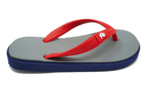 Fipper Kids - Blue Gray Red - Comfortable Natural Rubber Flip Flops for Kids Biodegradable Vegan Friendly