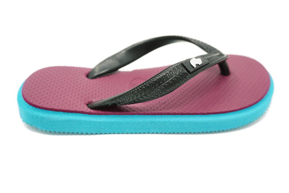 Fipper Kids - Turquoise Purple Black - Comfortable Natural Rubber Flip Flops for Kids Biodegradable Vegan Friendly