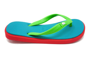 Fipper Kids - Pink Turquoise Green - Comfortable Natural Rubber Flip Flops for Kids Biodegradable Vegan Friendly