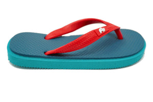 Fipper Kids - Turquoise Blue Red - Comfortable Natural Rubber Flip Flops for Kids Biodegradable Vegan Friendly