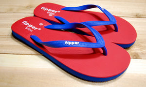 Blue Red Sole Blue Strap Fipper Slim Comfortable Natural Rubber Flip Flops for Women and Juniors Biodegradable Vegan Friendly