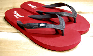 Red Sole Dark Brown Strap Fipper Classic Comfortable Natural Rubber Flip Flops for Men and Women Biodegradable Vegan Friendly