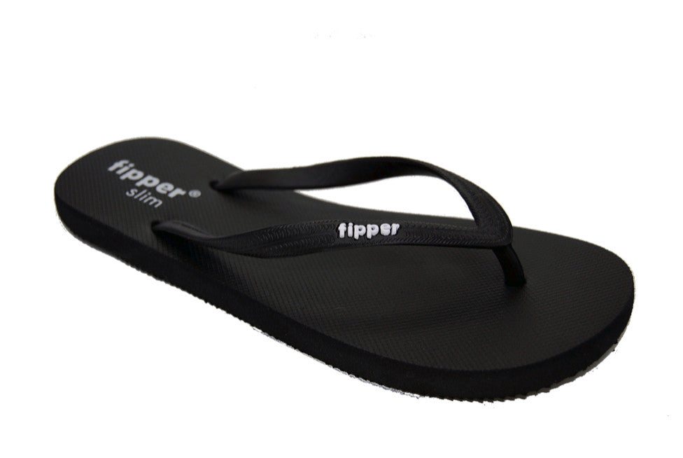 Fipper Slim Black - Comfortable Natural Rubber Flip Flops for Women and Juniors Biodegradable Vegan Friendly