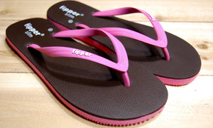 Pink Brown Sole Pink Strap Fipper Slim Comfortable Natural Rubber Flip Flops for Women and Juniors Biodegradable Vegan Friendly