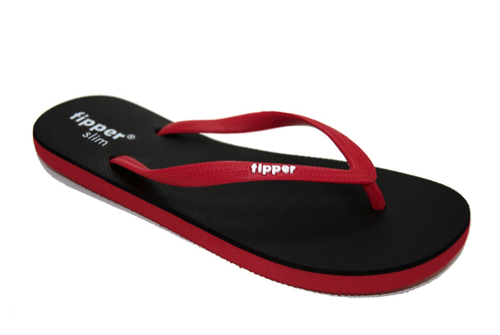 Fipper Slim - Black and Red Comfortable Natural Rubber Flip Flops for Women and Juniors Biodegradable Vegan Friendly