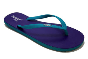 Fipper Slim - Dark Purple Turquoise Comfortable Natural Rubber Flip Flops for Women and Juniors Biodegradable Vegan Friendly
