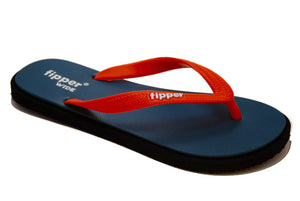 Fipper Wide - Black Gray Orange - Comfortable Natural Rubber Flip Flops for Men Biodegradable Vegan Friendly
