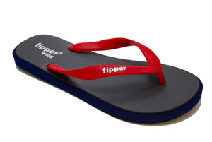 Fipper Wide - Navy Gray Red - Comfortable Natural Rubber Flip Flops for Men Biodegradable Vegan Friendly