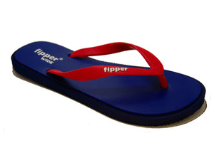 Fipper Wide - Dark Blue Navy Red - Comfortable Natural Rubber Flip Flops for Men Biodegradable Vegan Friendly