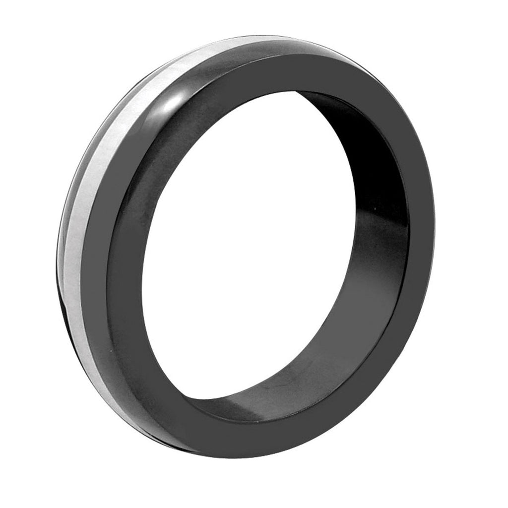PHS Black with Steel Band Cock Ring 1.75""