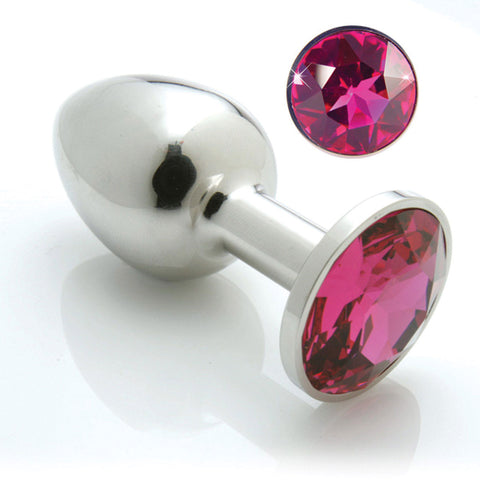 Pretty Plugs Stainless Steel Butt Plug w/ Swarovski Crystal - Small Fuchsia