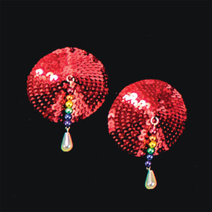 Bijoux de Nip Round Red Sequin Pasties with Rainbow Beads