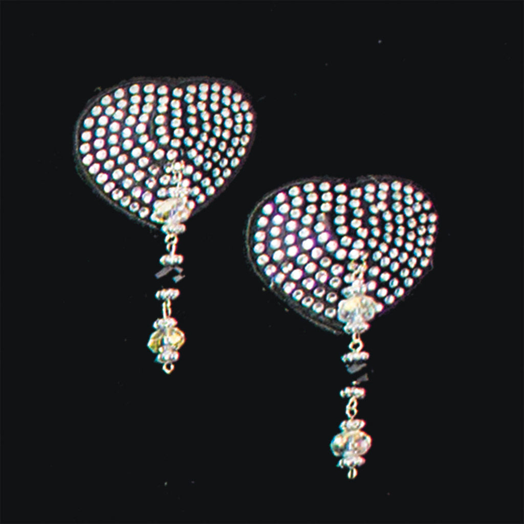 Bijoux de Nip Heart Black Crystal Pasties with Beads