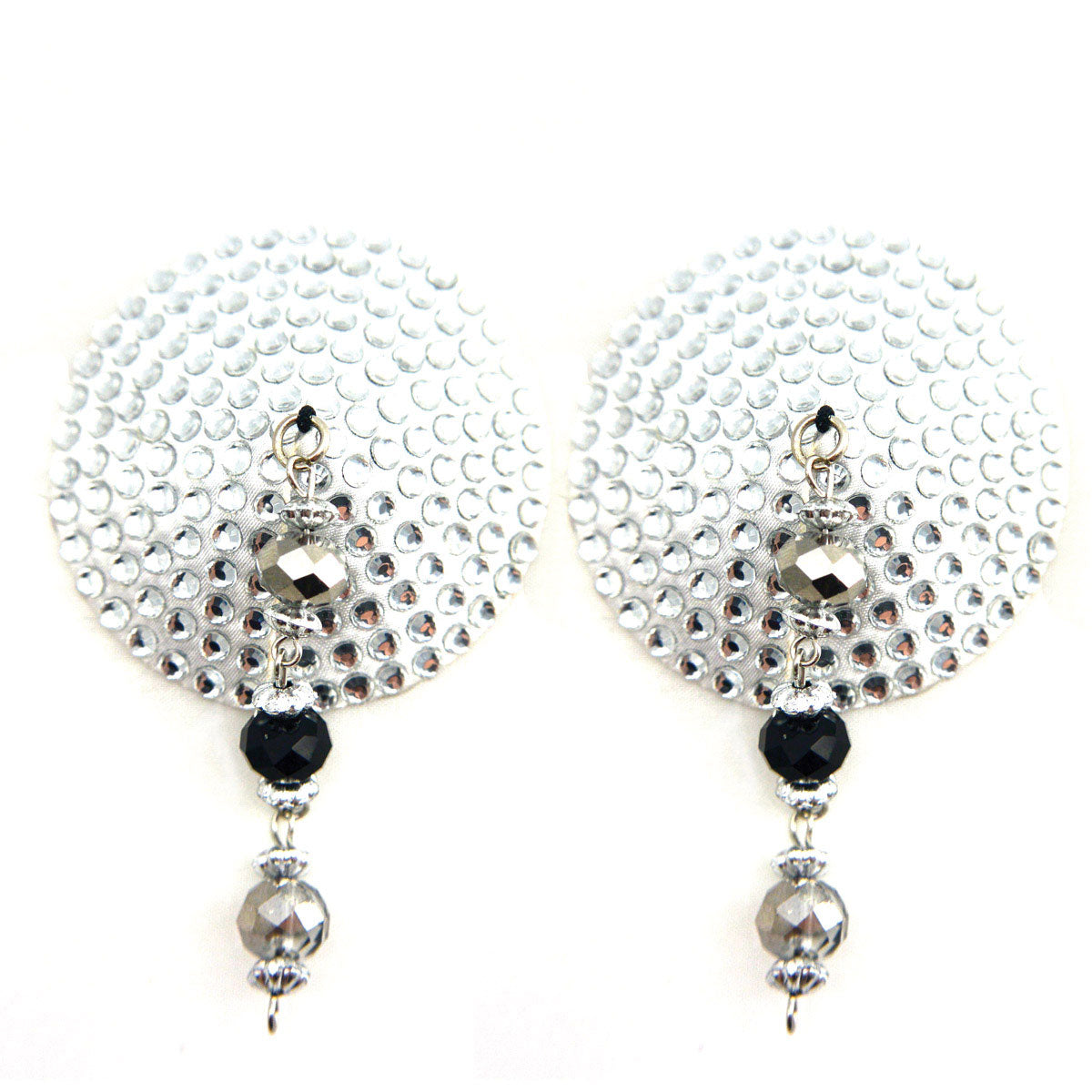 Bijoux de Nip Round Silver Crystal Pasties Beaded Hoops