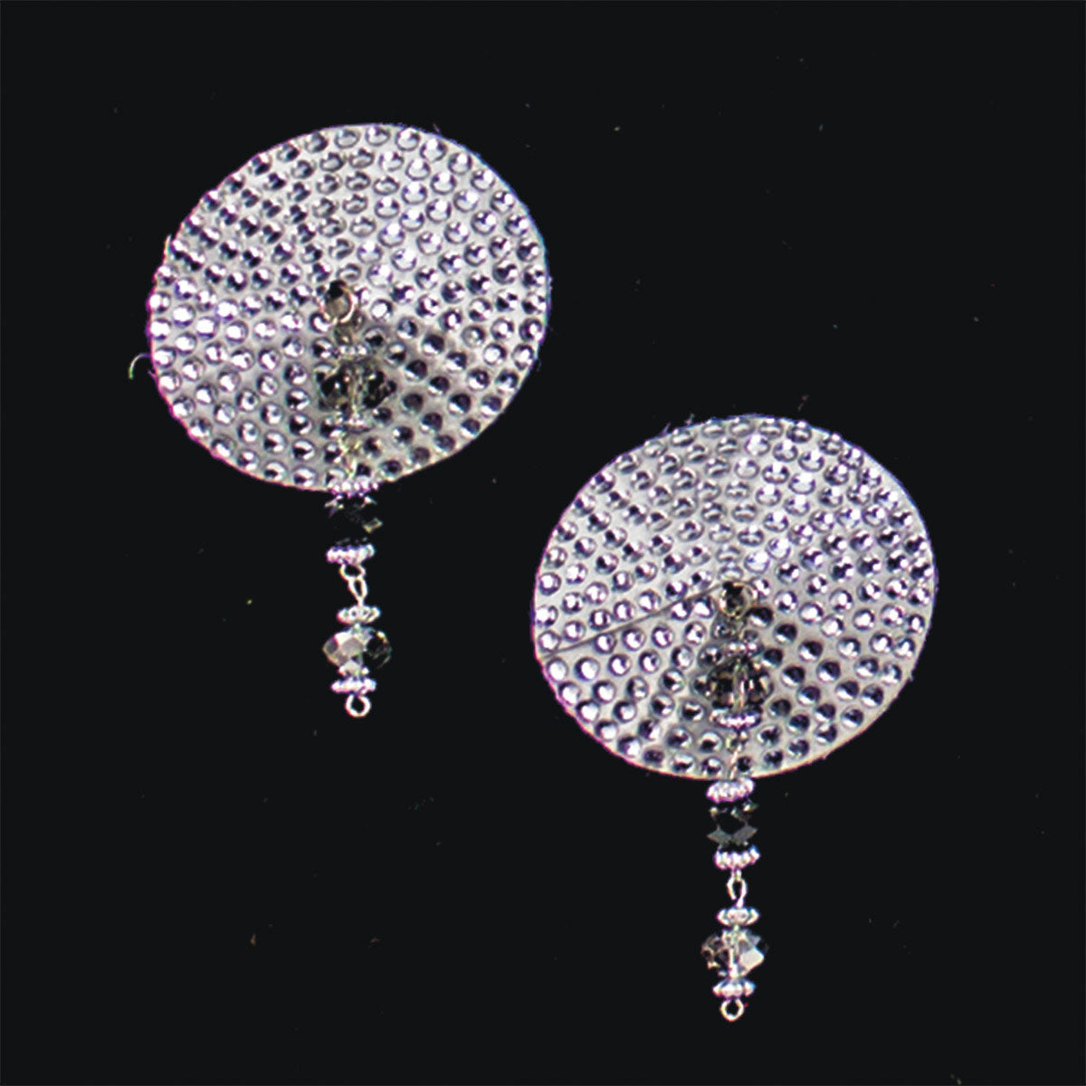 Bijoux de Nip Round Silver Crystal Pasties Purple Beads