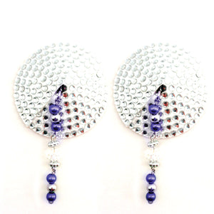 Bijoux de Nip Round Silver Crystal Pasties Faceted Beads