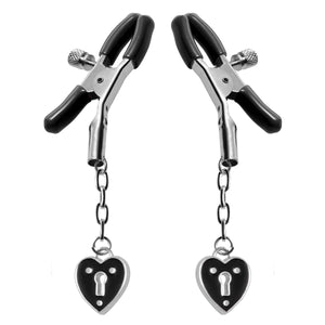Master Series Heart Padlock Nipple Clamps Black