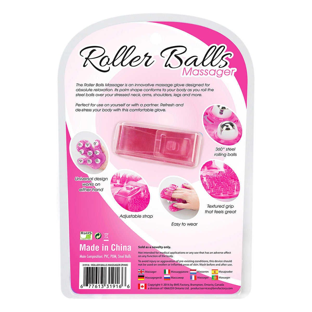 BMS Simple & True Roller Balls Massager Pink