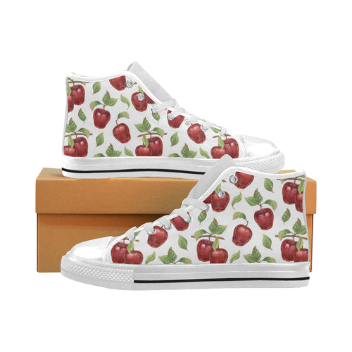 Red apples pattern Men's High Top Canvas Shoes White