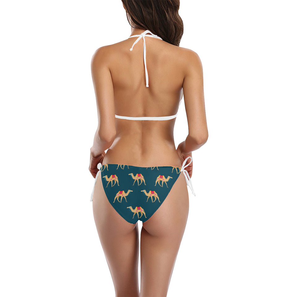 Camel pattern blue blackground Sexy Bikinis Two-Piece Swimsuits
