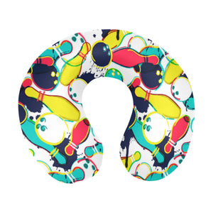watercolor bowling ball pins U-Shaped Travel Neck Pillow