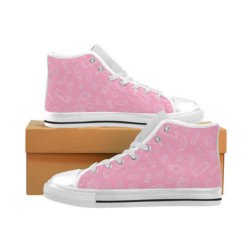 Sweet candy pink background Men's High Top Canvas Shoes White