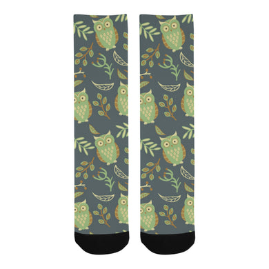 Cute owls leaves pattern Crew Socks