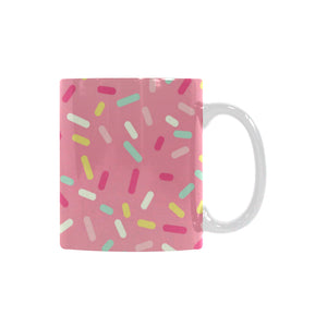 Pink donut glaze candy pattern Classical White Mug (Fulfilled In US)