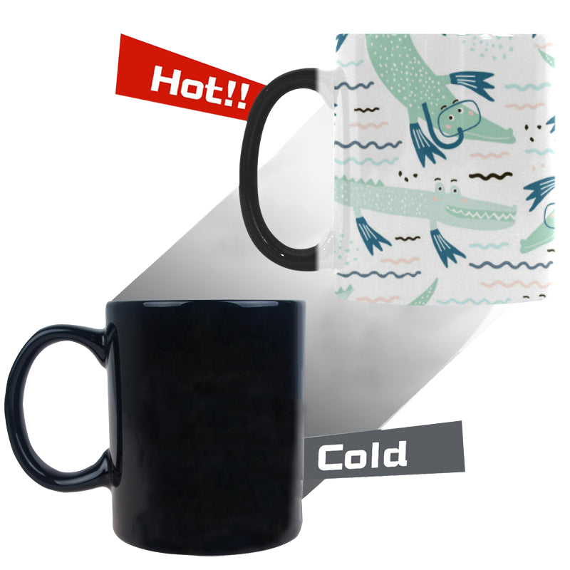 Crocodile diver pattern Morphing Mug Heat Changing Mug