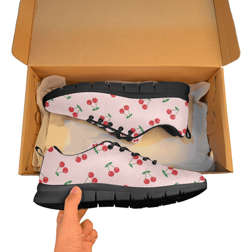 cherry pattern pink background Men's Sneaker Shoes