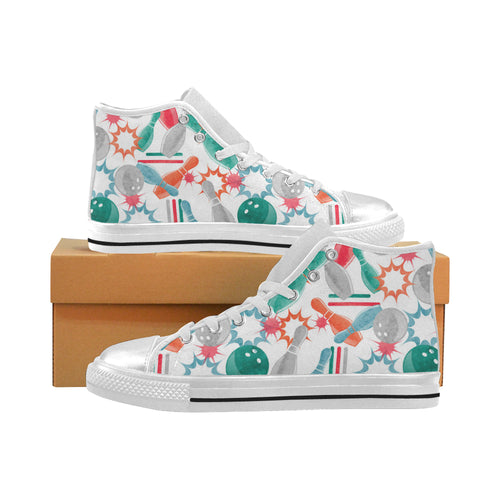 Watercolor bowling pattern Women's High Top Shoes White Made in USA