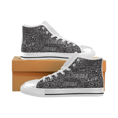 Handwritten cheese pattern Women's High Top Shoes White