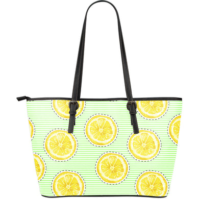 slice of lemon pattern Large Leather Tote Bag