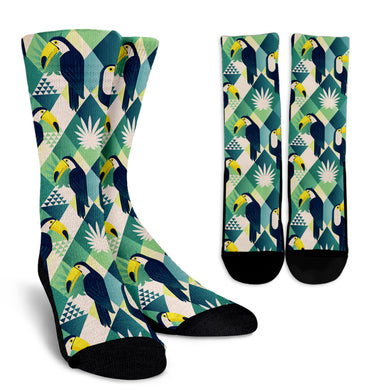 Toucan Tropical Leaves Design Pattern Crew Socks Pillow