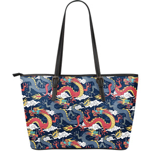 Blue red dragon cloud pattern Large Leather Tote Bag