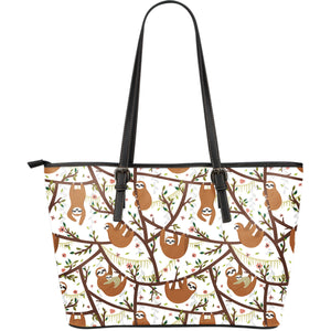 Sloths hanging on the tree pattern Large Leather Tote Bag