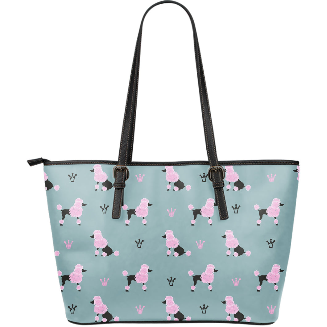 poodle dog pattern Large Leather Tote Bag