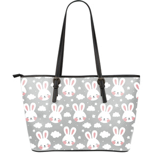 Rabbit Cloud Pattern Large Leather Tote Bag