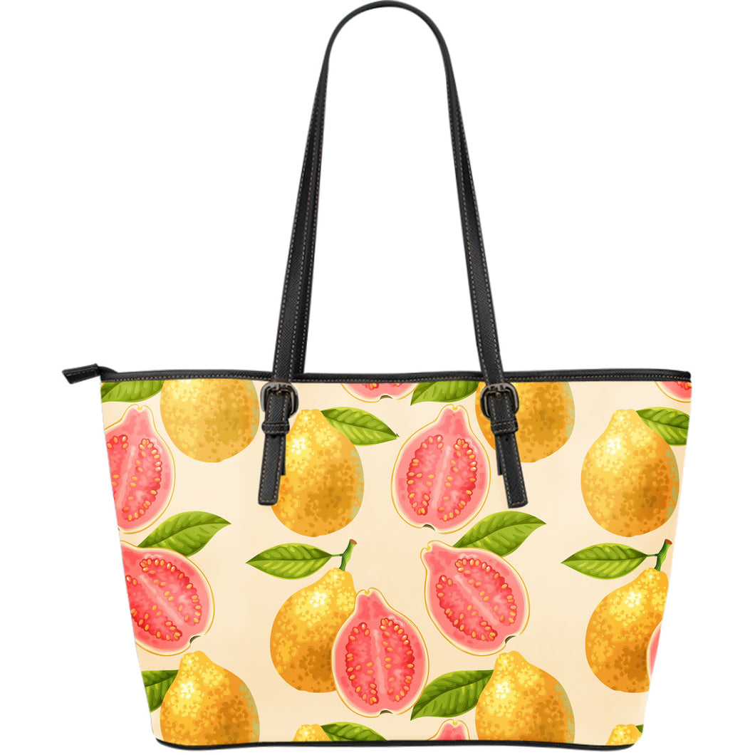 Beautiful guava pattern Large Leather Tote Bag