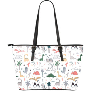 Cute Cartoon Dinosaurs Tree Pattern Large Leather Tote Bag