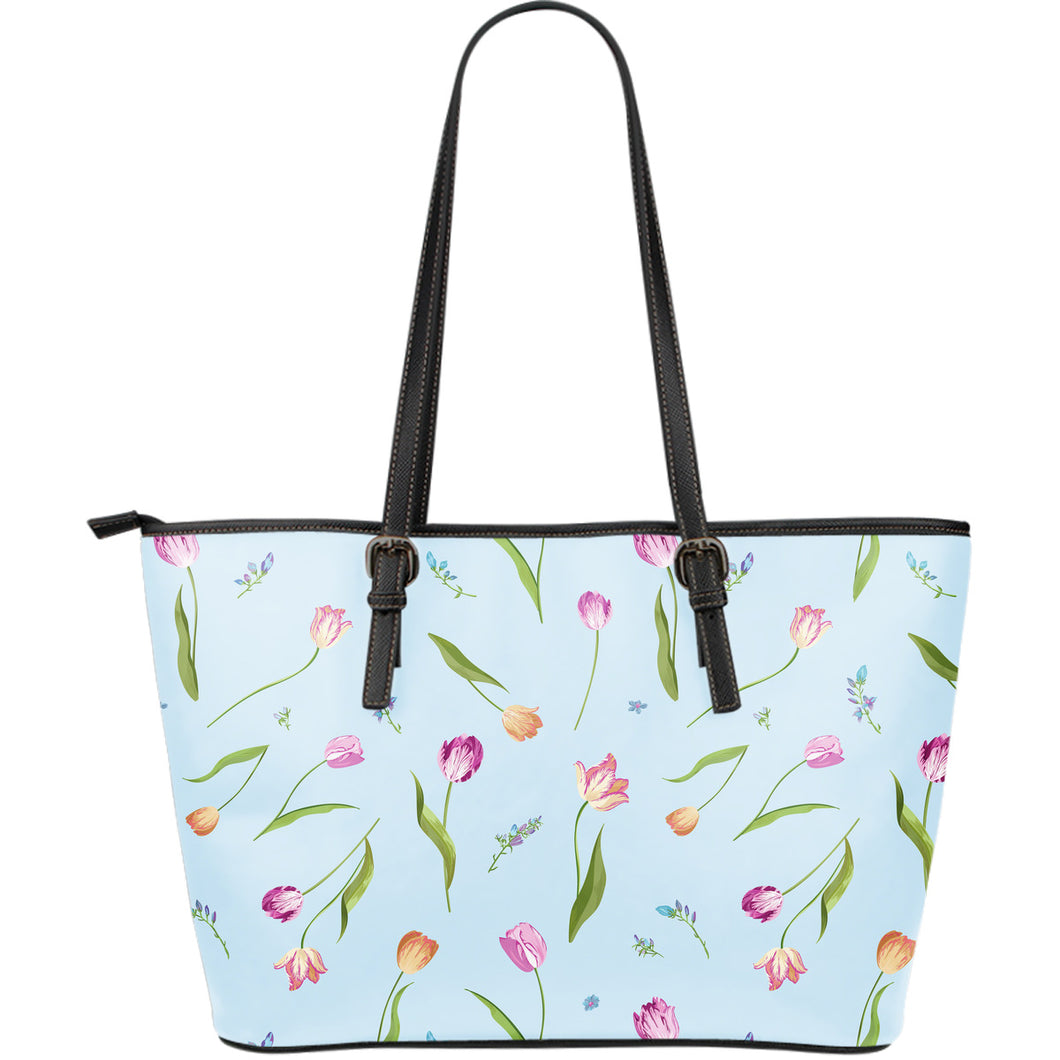 Watercolor Tulips pattern Large Leather Tote Bag
