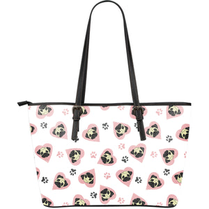 Cute pugs pink heart paw pattern Large Leather Tote Bag