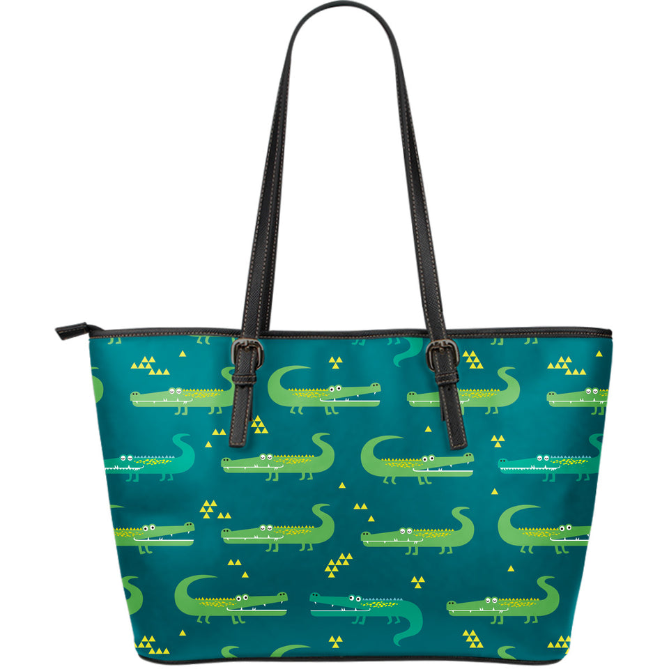 Crocodile pattern Large Leather Tote Bag